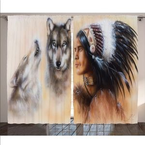 Native American Wolves Window Drapes
